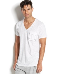 2Xist 2 X Ist Men's Loungewear Slub Cargo Pocket T Shirt White