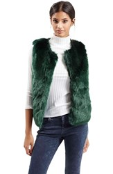 Women's Topshop Faux Fur Gilet Vest Dark Green