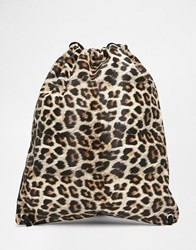 Asos Drawstring Backpack In Leopard Print Black