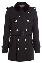 Alexander Mcqueen Wool Coat With Embossed Buttons Black