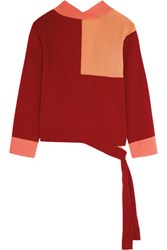 Jonathan Saunders Faustine Color Block Crepe De Chine Wrap Top Claret