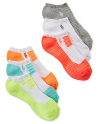 Polo Ralph Lauren Women's 6 Pk. Drop Needle Cushioned Sole Socks Turquiose Assorted