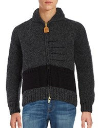Hudson's Bay Company Wool Knit Zip Up Sweater Charcoal