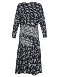 Preen Jana Carnation Print Long Sleeved Dress Navy Print