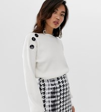 River Island Jumper With Button Detail In Ivory Cream