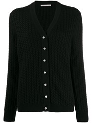 Alessandra Rich Cable Knit Cardigan Black