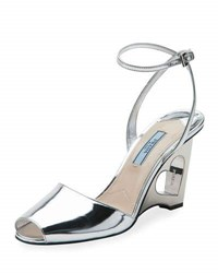 Prada Metallic Leather Heart Wedge Sandal Argento