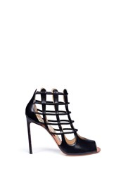 Francesco Russo 'Nadia' Cutout Heel Leather Sandal Booties Black