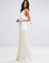 Asos Bridal Cami Panelled Maxi Dress With Pleated Skirt Cream
