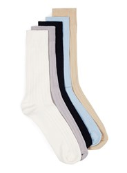 Topman Multi Assorted Colour Ribbed Socks 5 Pack
