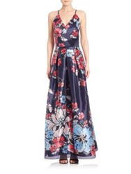 Phoebe Couture Floral Print Gown Blue Multi