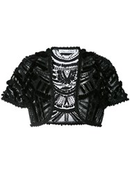 Oscar De La Renta Embroidered Bolero Black