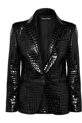 Tom Ford Croc Effect Leather Blazer Black