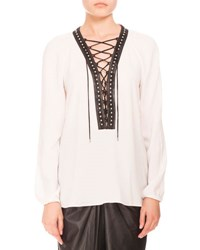 Altuzarra Studded Lace Up Peasant Blouse Natural White