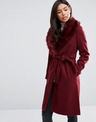 Qed London Belted Coat With Faux Fur Trim Burgandy Red
