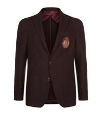 Billionaire Logo Badge Textured Jacket Male Burgundy