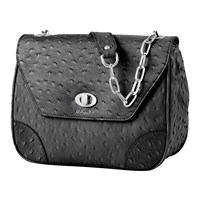 Bijouxx Jewels Ostrich Embossed Leather Handbag Black