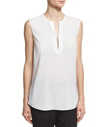 Brunello Cucinelli Sleeveless Silk Popover Top White