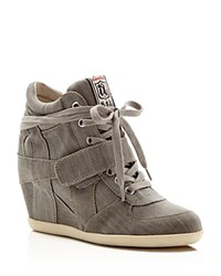 Ash Bowie Lace Up High Top Wedge Sneakers Grey