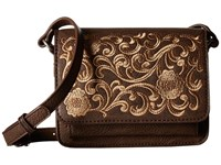 American West Shawnee Crossbody Flap Bag Medium Brown Cross Body Handbags