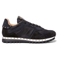 Valentino Rockrunner Camouflage Print Mesh And Suede Sneakers Black