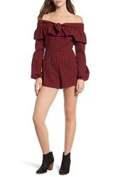 The Fifth Label Campus Off Shoulder Romper Berry Black