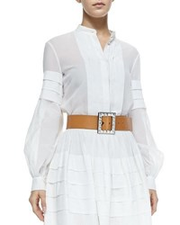 Michael Kors Band Collar Pleated Shirt Optic White