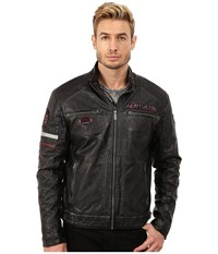 Affliction Recklessness Faux Leather Moto Jacket Black Stone Wash Men's Coat