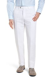 Monte Rosso Flat Front Solid Cotton And Linen Trousers White
