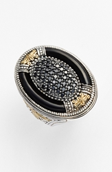 Konstantino 'Ismene' Cocktail Ring Silver Black Agate