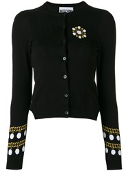 Moschino Pearl And Chain Intarsia Cardigan Black