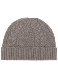 N.Peal Cable Knit Beanie Brown