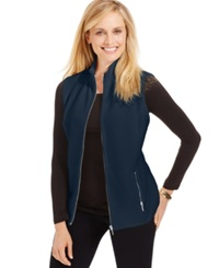 Karen Scott Mini Quilted Zip Front Vest Intrepid Blue