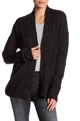 Honey Punch Draped Cable Knit Open Cardigan Black