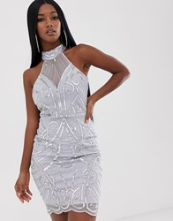 Lipsy High Neck Sequin Dress In Sliver Silver
