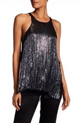 Parker Sleeveless Embellished Sequin Silk Tank Blue