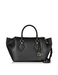 Diane Von Furstenberg Voyage Large Double Zip Black Leather Satchel