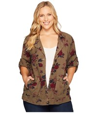Lucky Brand Plus Size Printed Short Sleeve Military Olive Multi Women's Jacket Burgundy