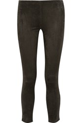 The Row Relton Suede Leggings Army Green