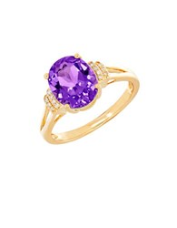 Lord And Taylor Amethyst Diamond 14K Yellow Gold Ring