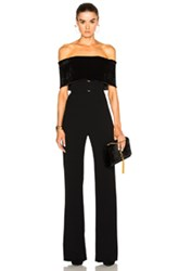 Galvan Velvet Off Shoulder Jumpsuit In Black