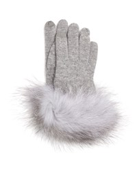 Sofia Cashmere Gloves W Fox Fur Cuff Gray