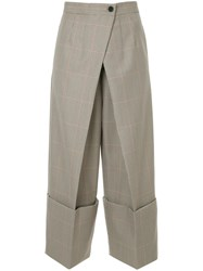 Astraet Checked Cropped Trousers Brown