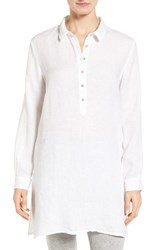Eileen Fisher Women's Organic Linen Tunic Shirt White