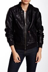 Levi's Faux Leather Hooded Jacket Juniors Black