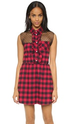 Red Valentino Gingham Ruffle Dress Red Black