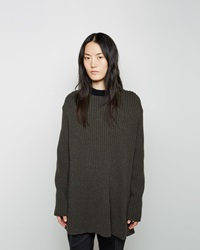 Marni Open Back Rib Knit Sweater Grey Green And Coal