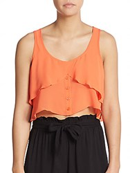 Bcbgeneration Ruffle Cropped Tank Top Hot Coral