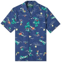 Gitman Brothers Vintage Short Sleeve Camp Collar Surf And Turf Shirt Blue