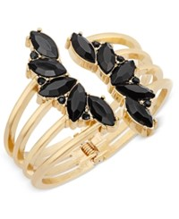 Inc International Concepts Gold Tone Crystal Leaf Cuff Bracelet Only At Macy's Black
